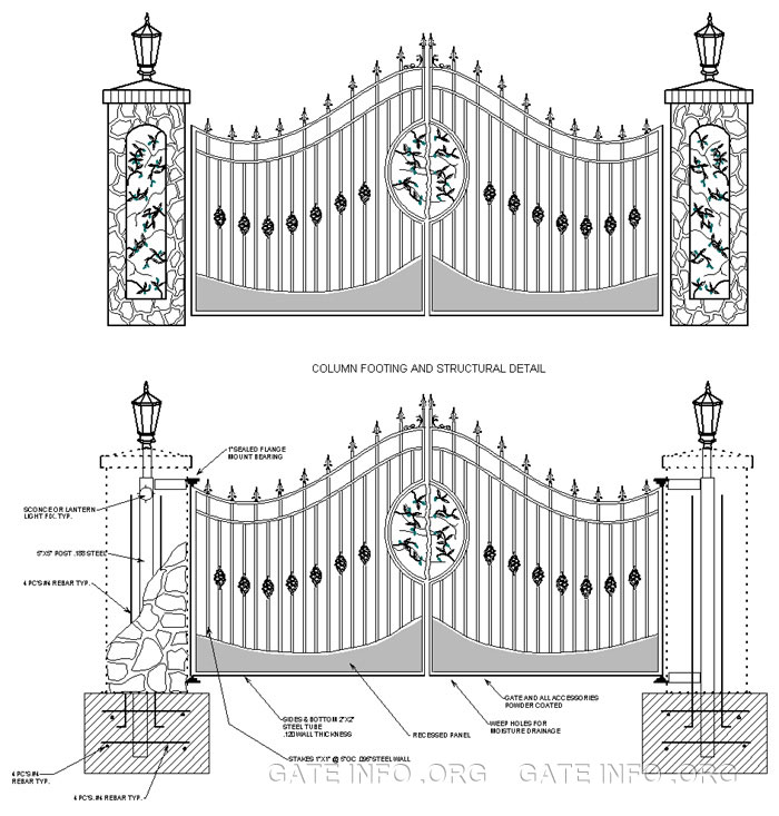 Anatomy Of A Driveway Gate Drawing